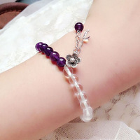 A263 high quality fashion new charm natural white purple crystal bead flower women bracelet valentine gift jewelry free shipping