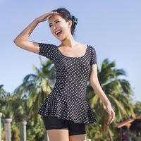 2014 women's sleeve summer one pieces swimwear plus size swimwuit black bathing suits free shipping