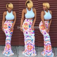 Fashion Floral Print Women Long Maxi Mermaid Skirt Ladies Celebrity Bodycon Skirts 2015