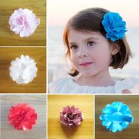 Wholesale  children satin mesh flower 5CM with clip hairpin baby headband girls hair accessory 100pcs/lot
