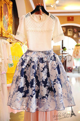 2014 NEW Summer fashion crochet lace shirt short-sleeve organza flower one-piece dress twinset female(China (Mainland))