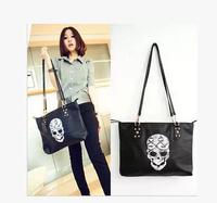 Hot Cotton Flax bag 2014 new wave of female bag rivets tassel handbag shoulder diagonal package skull big black bag women bag