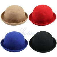 Free Shipping Vintage Fashion Wool Women's Cute Lady Hat Trendy Bowler Derby Hat Men's Cloche