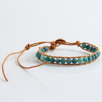 Новый Boho стиль смешанный кожи зеленый агат бусины обертывание браслет для женщин ...