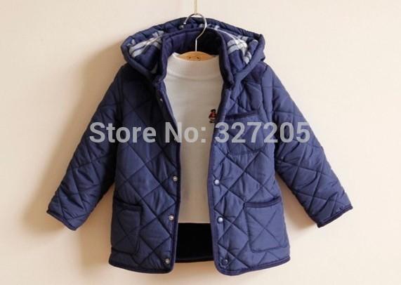 Neuen 2014 mit kapuze oberbekleidung jacken für kinder jungs plaid dicker baumwolle- gepolstertes jacke kleidung Winter kinderbekleidung