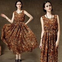 Vintage Brand Dress for Women Sexy Leopard Print Brief Tank Dress Loose Plus Size Full Dress 8116#