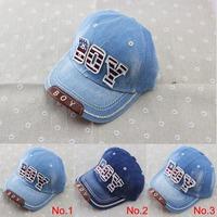 2014 new kids cotton caps boys baseball caps summer jean hats children caps girls baseball cap 3-8 ages baby hat children hat