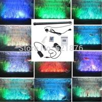5pcs/lot Underwater Aquarium LED RGB Light SMD 5050 18LED Fish Tank Air Curtain Bubble Stone Light With 24 Key Remote + Adapter