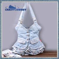 New fashion personality shoulder bag casual denim jean princess skirt dress bags for girls desigual vintage handbag bolsas women
