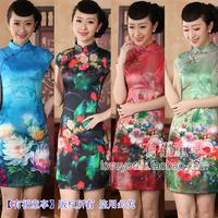 2014Tang suit cheongsam dress fashion vintage tang suit short design slim sexy faux silk Women printed dress/S-XXL,Free shipping