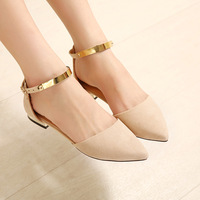 2014 new Summer @spring fashion ballet flats pointed toe paillette metal belt shallow bottomed sandals all-match girls shoes