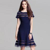 Hot Hot European Fashion Women Mesh Panel Casual Dresses Knee-length TDS Plus Size Wholesale