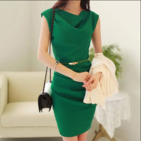 2014 new High Quality Summer cowl neck ol slim elegant fashion women office dress sleeveless bandage lady dress with belt
