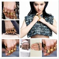 9PCS/Set Urban Punk Golden Plain Cute Above Knuckle Rings for Women Men Party Accessories