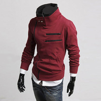 2014 New 5 Colors Fashion Mens Slim Full Sleeve Thick Zipper Hooded Pullover Fleece Multicolor Size Hoodies,Free shipping