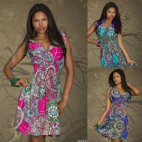 Drop Shipping Sleeveless High Waist Casual Women Maxi Dresses Short Mini Deep V Neck Sexy Print Plus Size Summer Beach Dress