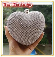 2014 New Fashion Women's Heart-shaped Hard Box Clutch Luxury Bling Diamond Wedding Party Handbag Shoulder Bag Black Gold Silver