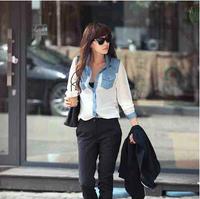 New 2014 Spring and Autumn Plus Size 5XL Medium-long Thin Denim Shirt Women's Long-sleeve Cowboy Shirt Blouse