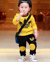 2014 Autumn Winter Fashion children sweatshirt plus velvet set baby boys sport clothing sets outerwear 0-3year yellow gray free