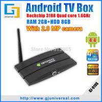 MK919 Android TV Box Quad core RK3188 Cortex-A9 2G RAM 8G Android 4.4 support Web camera+Free remote control