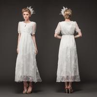 High Range High Quality 2014 Hot Sale Short-sleeve Embroidered Lace Gauze  Elegant Dresses For Wedding 7022#