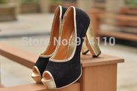 FREE SHIPPING 2014 LD-P1725 Europe&American Women Peep Toe 11CM Ultra High heel Pumps Weddding/Party/Cosplay/NightClub Shoes