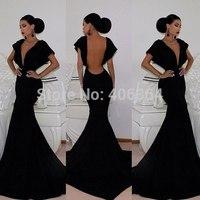 Sexy V Neck Black Jersey Long Evening Dresses Mermaid Fashion Prom Dresses 2014 Dress Party Evening Elegant