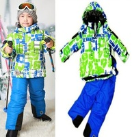 Pom s141 kids clothes set for winter children Ski suits snowboard wear clothing  warm sets outwear jacket+jumpsuit