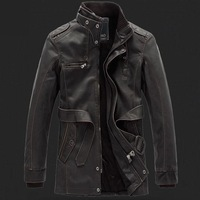 New 2014 men clothing Pu Leather jacket Winter coat motorcycle leather jackets cultivate one's morality trench coat high quality