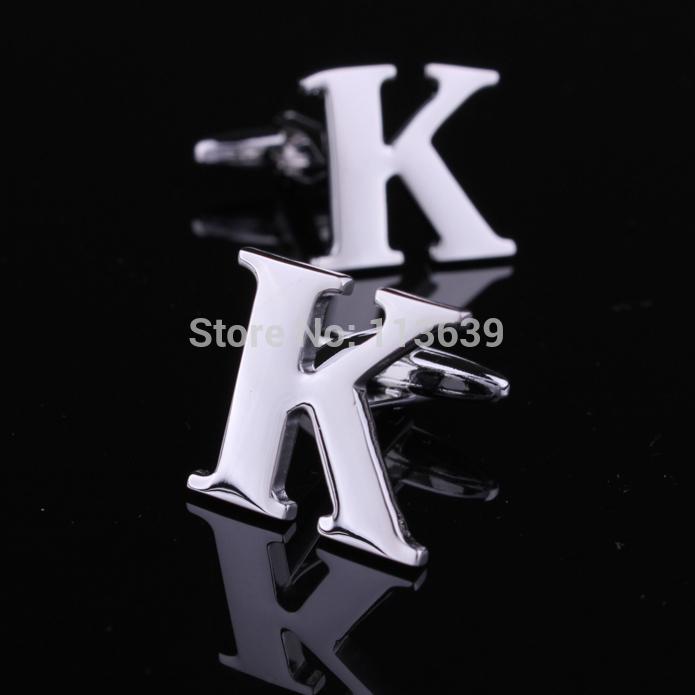 26 Alphabet carta abotoaduras design mista K para homens camisa acessório frete grátis(China (Mainland))