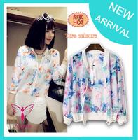casacos femininos 2014 Fashion Floral Print Womens Short Thin Spring Summer Jackets for Lady's Blazer Cardigan Cheap WO-011