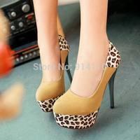 FREE SHIPPING 2014 LD-P1728 Fashion Leopard Women Sexy 13.5CM Ultra High heel Pumps Weddding/Party/Cosplay/NightClub Shoes