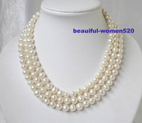 """New fine pearl jewelry genuina natural  3strands 9mm white round pearls necklace 17""""18""""19"""""""