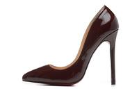 New Arrival Garranreed 100% Genuine Leather Brand Designer 12cm Women Pumps Women High Heel Shoes 2014 Wine Red Wedding Shoes