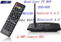 Android 4.4 TV Box MK919S Rk3188 1.6GHz Quad core 2GB / 8GB WiFi Bluetooth  RJ-45 AV OUT 2.0MP Camera XBMC