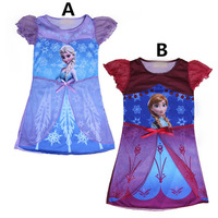 YOU CAN CHOOSE SIZES! Free shipping FROZEN Elsa Anna girl girls short sleeve dress dresses nightgown sleepwear nightie 1pc