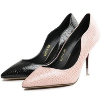 Free shipping 2014 Solid color patent leather pointed toe bow flat shoes women shoes