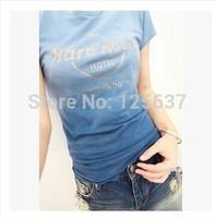 2014 New Fashion Hard Rock Hard Stone 100% Cotton Dip Dye O-neck Short Sleeve Women lady's T-shirt girl's T-shirt Plus Size