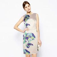 New In Brand Style Women Fresh Flower Print Elegant Bodycon Dresses Office Work Wear 6298 Plus Size Wholesale