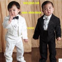 Baby Boy kid 1-4year white black Bow Tie Gentleman Modelling retail Romper Infant long sleeve Clothing Onesie Formal Dress T1324