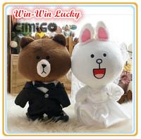2014 New Diy Japanese Expression Plush Toys,11.8''  Wedding Suit Dress App Line Plush Doll Wedding Souvenirs. Couple Gifts
