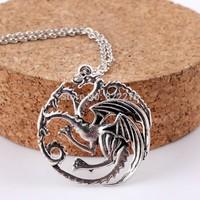 12pcs/Lot Free shippng Inspired the Game of Thrones Targaryen Sigil Dragon Pendant Necklace