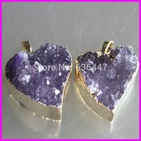 Free ship! 5pcs Newest Very nice Amethyst Geode Druzy Gem stone heart shape Pendant fit druzy jewelry necklace DIY