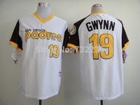 2014 cheap stitched men's baseball jersey san diego padres 19 Tony Gwynn brown/white throwback Baseball Jerseys Embroidery logos