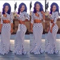 Backless party 2014 sexy plus size club polka dot dresses long maxi Evening Dress 2 piece set women crop top bandage dress