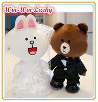 2014 Most Popular Japanese Expression Plush Toys,7.8''  Wedding Suit Dress App Line Plush Doll Wedding Souvenirs. Couple Gifts