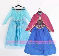 Retail New 2014 Frozen dress Elsa & Anna dress, girls dresses + red cloak, Anna costume baby & kids clothing