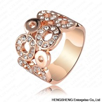 Factory Price Rings 18K Rose Gold Plate Austrian Crystal SWA Element Round Ring 21*10mm Ri-HQ0061-b