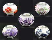 20 Flower Ceramic European Charm Beads 13x10mm