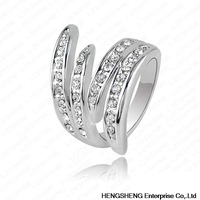 Newest Angel's Wing Engagement Rings With Platinum Plating and Pave Austrian Crystals Fashion Jewelry Ri-HQ0063-b